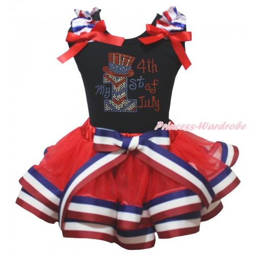 American's Birthday Black Tank Top Red White Blue Striped Ruffles Red Bows & Sparkle Rhinestone My 1st American 4th Of July Print & Red White Blue Striped Trimmed Pettiskirt MG2115