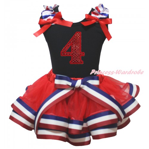 American's Birthday Black Tank Top Red White Blue Striped Ruffles Red Bows & 4th Sparkle Red Birthday Number Print & Red White Blue Striped Trimmed Pettiskirt MG2122
