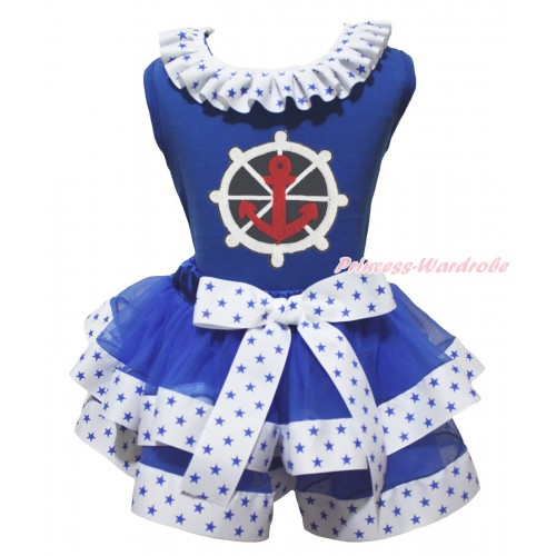 American's Birthday Royal Blue Pettitop Patriotic American Star Lacing & Anchor Print & White Royal Blue Star Trimmed Pettiskirt MG2127