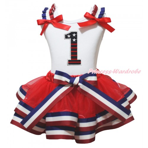 American's Birthday White Baby Pettitop Red White Blue Striped Ruffles Red Bow & 1st Patriotic Print Birthday Number & Red White Blue Striped Trimmed Baby Pettiskirt NG2022