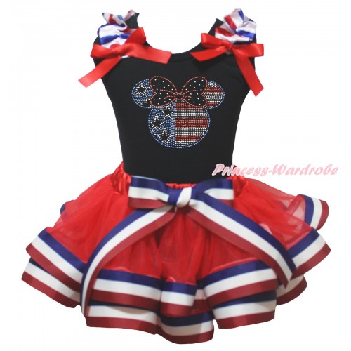 American's Birthday Black Baby Pettitop Red White Blue Striped Ruffles Red Bow & Sparkle Crystal Bling Rhinestone 4th July Minnie Print & Red White Blue Striped Trimmed Baby Pettiskirt NG2029
