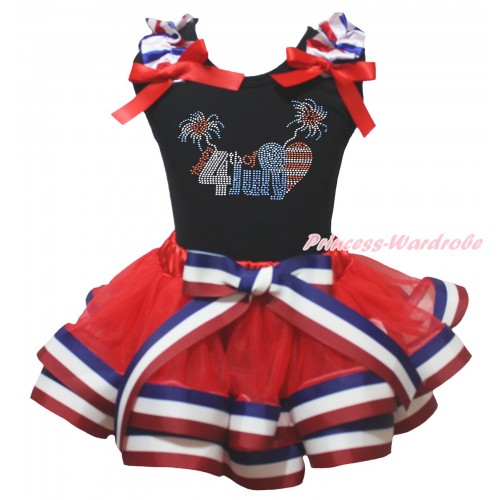 American's Birthday Black Baby Pettitop Red White Blue Striped Ruffles Red Bow & Sparkle Happy 4th Of July Print & Red White Blue Striped Trimmed Baby Pettiskirt NG2031