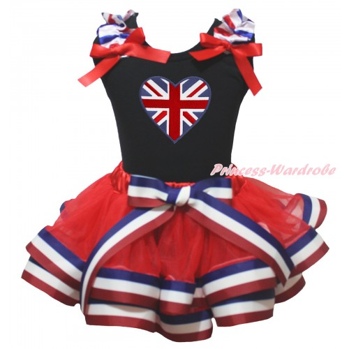 Black Baby Pettitop Red White Blue Striped Ruffles Red Bow & Patriotic British Heart Print & Red White Blue Striped Trimmed Baby Pettiskirt NG2032