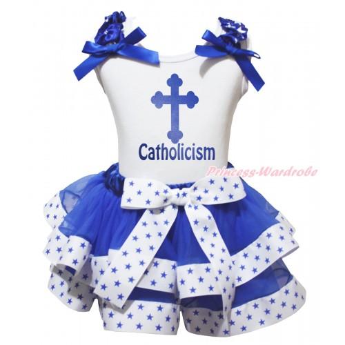 White Baby Pettitop Royal Blue White Star Ruffles Royal Blue Bow & Blue Cross Catholicism Painting & White Royal Blue Star Trimmed Baby Pettiskirt NG2040