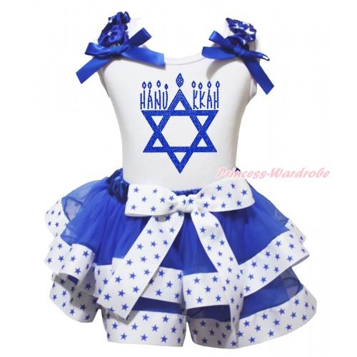 White Baby Pettitop Royal Blue White Star Ruffles Royal Blue Bow & Sparkle Rhinestone HANUKKAH Print & White Royal Blue Star Trimmed Baby Pettiskirt NG2043