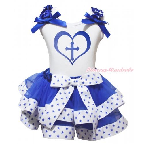 White Baby Pettitop Royal Blue White Star Ruffles Royal Blue Bow & Cross Heart Painting & White Royal Blue Star Trimmed Baby Pettiskirt NG2044