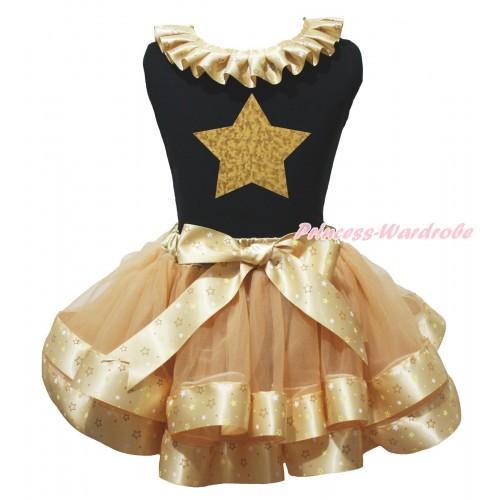 Black Baby Pettitop Goldenrod Star Lacing & Gold Star Painting & Goldenrod Star Trimmed Baby Pettiskirt NG2059
