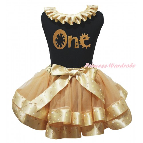 Black Baby Pettitop Goldenrod Star Lacing & Gold One Painting & Goldenrod Star Trimmed Baby Pettiskirt NG2061