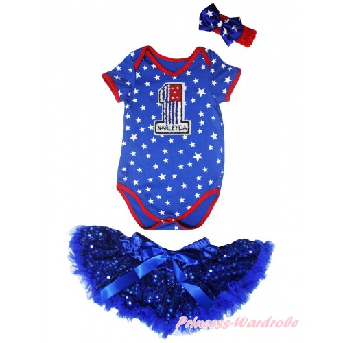 American's Birthday Royal Blue White Star Red Piping Baby Jumpsuit & Headband & 1st American Flag Birthday Number Print & Royal Blue Bling Sequins Newborn Pettiskirt NG2071