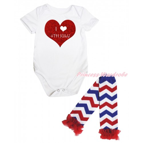 American's Birthday White Baby Jumpsuit & I Love 4th July Painting & Warmer Set TH660