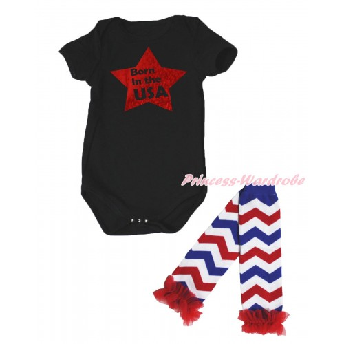 American's Birthday Black Baby Jumpsuit & Born In The USA Painting & Warmer Set TH661