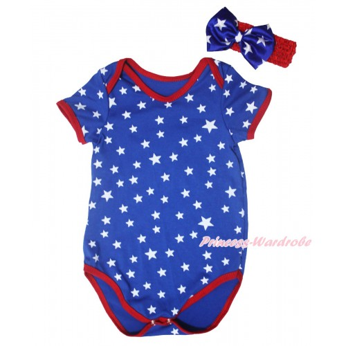 American's Birthday Royal Blue White Star Red Piping Baby Jumpsuit & Headband TH665