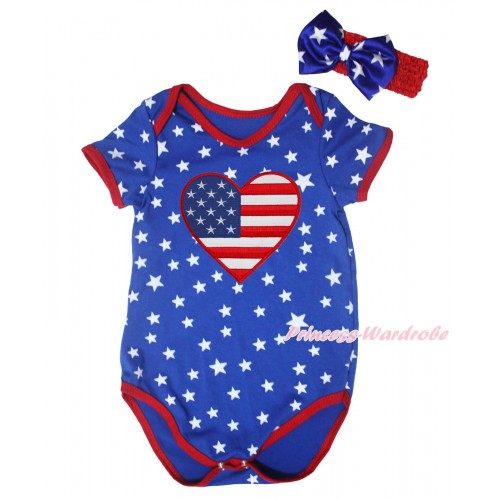 American's Birthday Royal Blue White Star Red Piping Baby Jumpsuit & American Heart Print & Headband TH666