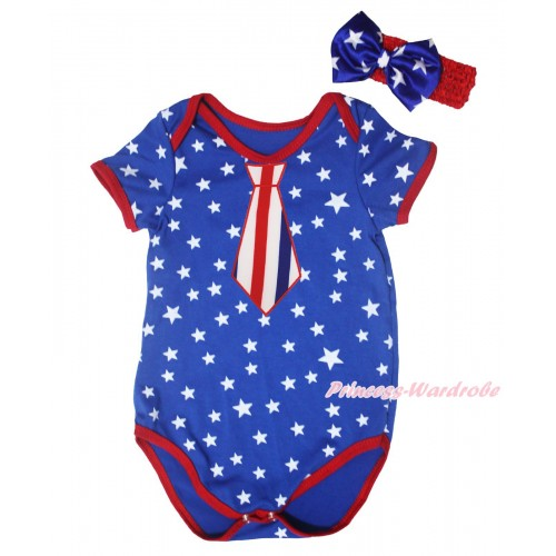 American's Birthday Royal Blue White Star Red Piping Baby Jumpsuit & Red White Blue Striped Tie Print & Headband TH667