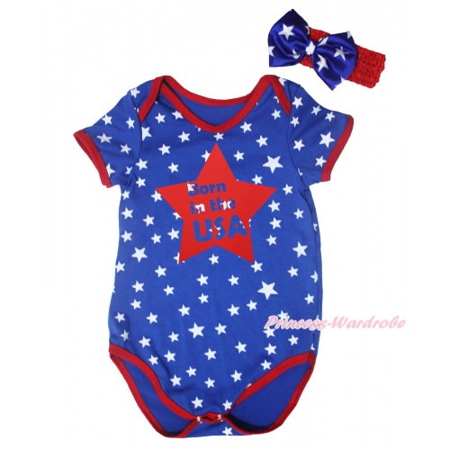 American's Birthday Royal Blue White Star Red Piping Baby Jumpsuit & Born In The USA Star Painting & Headband TH669