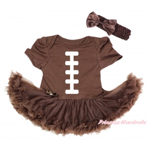 Brown Baby Bodysuit Pettiskirt & White Rugby Ball Painting JS5483