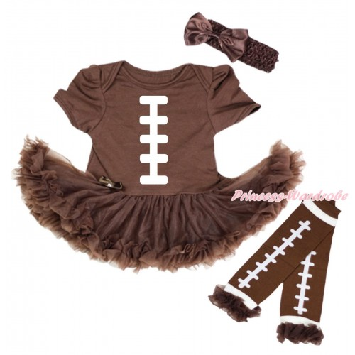 Brown Baby Bodysuit Pettiskirt & White Rugby Ball Painting & Warmers Leggings JS5484