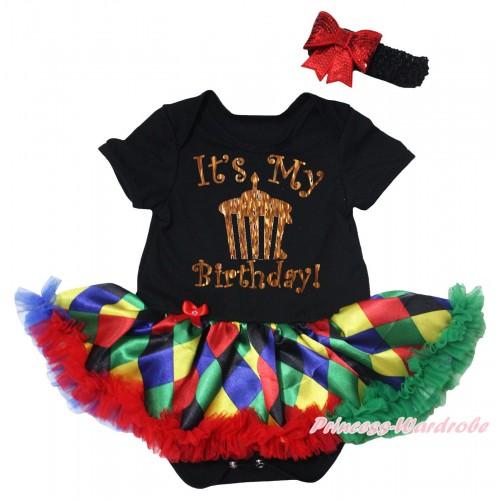 Black Baby Bodysuit Rainbow Diamond Pettiskirt & Sparkle It's My Birthday Painting JS5495