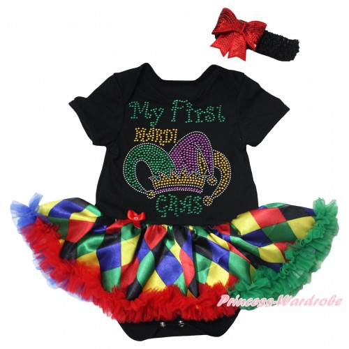 Mardi Gras Black Baby Bodysuit Rainbow Diamond Pettiskirt & Sparkle Rhinestone My First Mardi Gras Clown Hat Print JS5499
