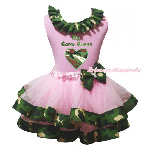 Light Pink Baby Pettitop Camouflage Lacing & Sparkle My Camo Dress Painting & Camouflage Heart Print & Light Pink Camouflage Trimmed Baby Pettiskirt NG2142