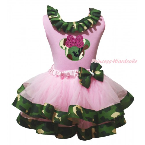Light Pink Baby Pettitop Camouflage Lacing & Sparkle Hot Pink Camouflage Minnie Print & Light Pink Camouflage Trimmed Baby Pettiskirt NG2143