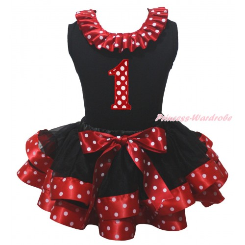 Black Baby Pettitop Minnie Dots Lacing & 1st Minnie Dots Birthday Number Print & Black Minnie Dots Trimmed Baby Pettiskirt NG2158