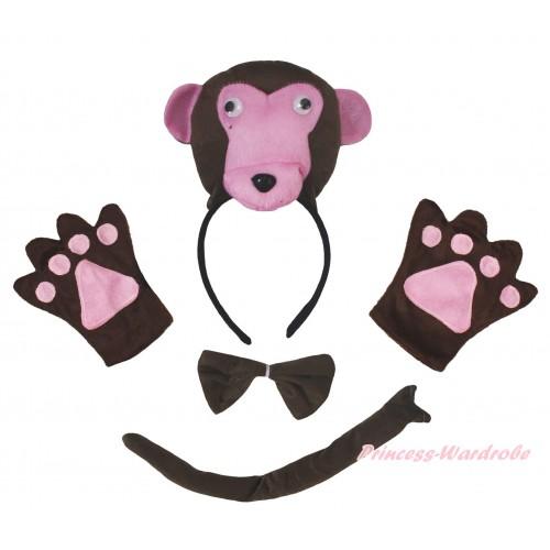Dark Brown Monkey 4 Piece Set in Headband, Tie, Tail , Paw PC156
