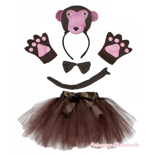 Dark Brown Monkey 4 Piece Set in Headband, Tie, Tail , Paw & Dark Brown Ballet Tutu & Bow PC157
