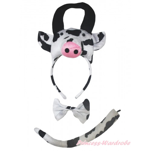 Cow 3 Piece Set in Headband, Tie, Tail PC158