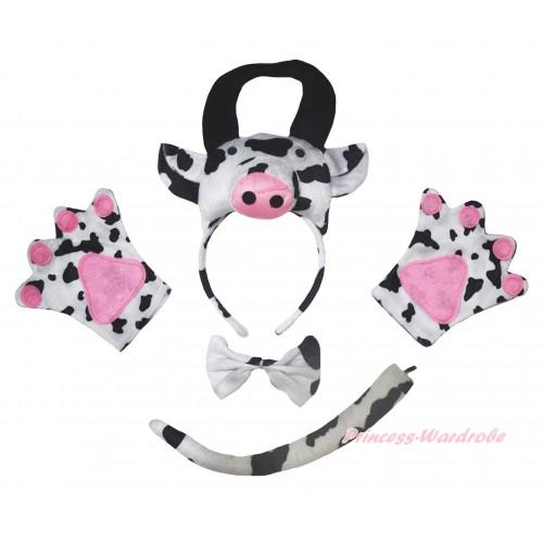 Cow 4 Piece Set in Headband, Tie, Tail , Paw PC159