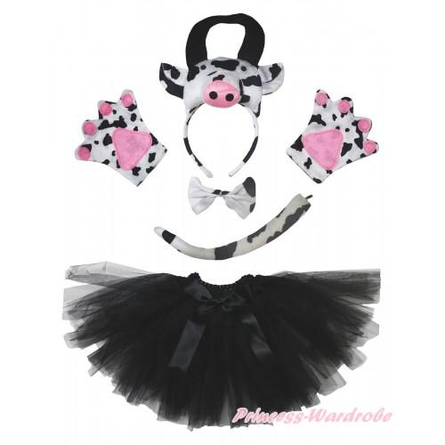 Cow 4 Piece Set in Headband, Tie, Tail , Paw & Black Ballet Tutu & Bow PC160