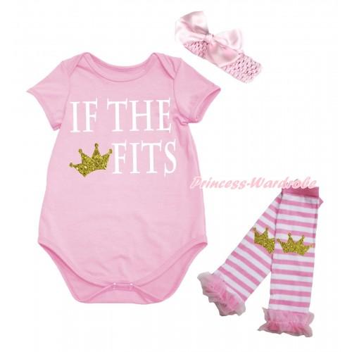Light Pink Baby Jumpsuit & IF THE CROWN FITS Print & Headband & Leg Warmer Set TH725
