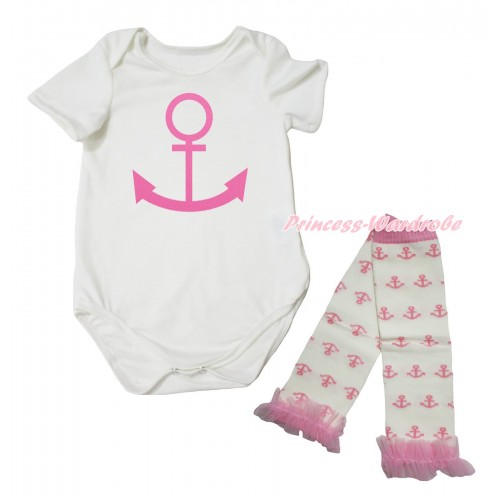 Cream White Baby Jumpsuit & Pink Anchor Painting & Cream White Light Pink Anchor Warmer Set TH730