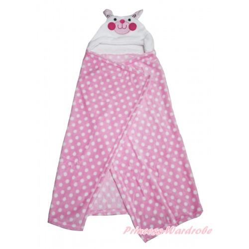 Rabbit Pink White Dots Cute Animal Baby Swaddling Wrap Blanket BI52