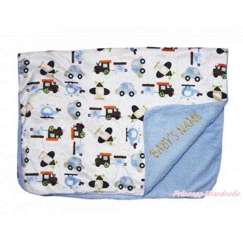 Personalize Custom Blue Vehicles Baby's Name Swaddling Wrap Blanket BI55