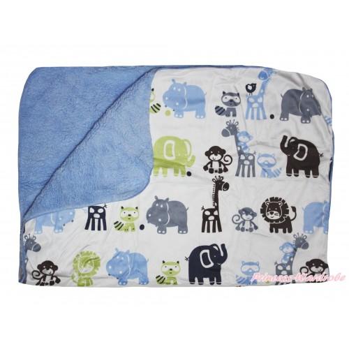 Blue Animal Baby Swaddling Wrap Blanket BI58