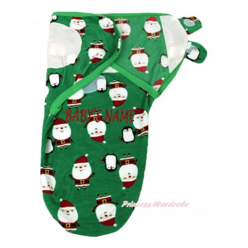 Personalize Custom Santa Green Baby's Name Swaddling Wrap Blanket BI63