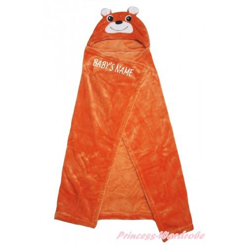 Personalize Custom Bear Brown Baby's Name Swaddling Wrap Blanket BI65