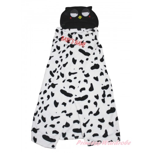 Personalize Custom Owl White Black Baby's Name Swaddling Wrap Blanket BI67