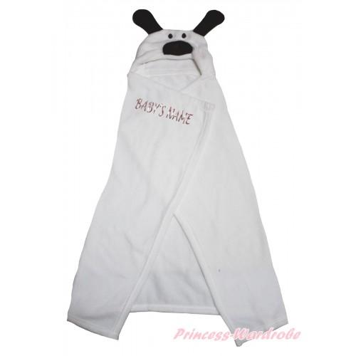 Personalize Custom Dog White Baby's Name Swaddling Wrap Blanket BI71