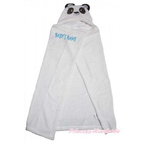 Personalize Custom Panda White Baby's Name Swaddling Wrap Blanket BI73