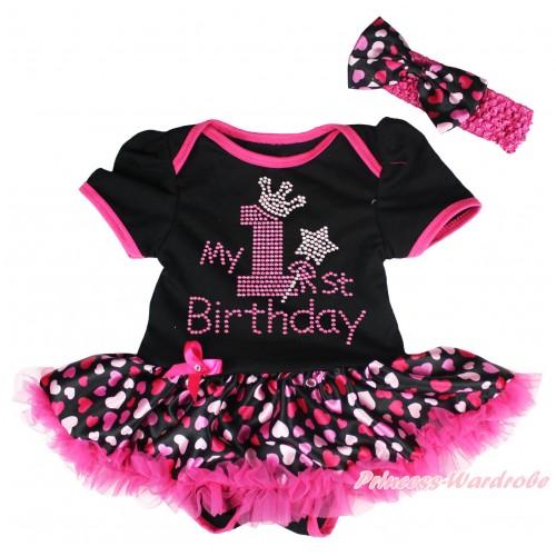 Black Baby Bodysuit Jumpsuit Hot Light Pink Heart Pettiskirt & Sparkle Rhinestone My 1st Birthday Print JS5501
