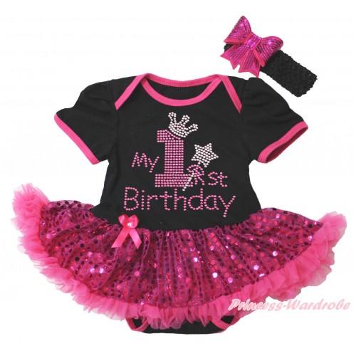 Black Baby Bodysuit Bling Hot Pink Sequins Pettiskirt & Sparkle Rhinestone My 1st Birthday Print JS5502