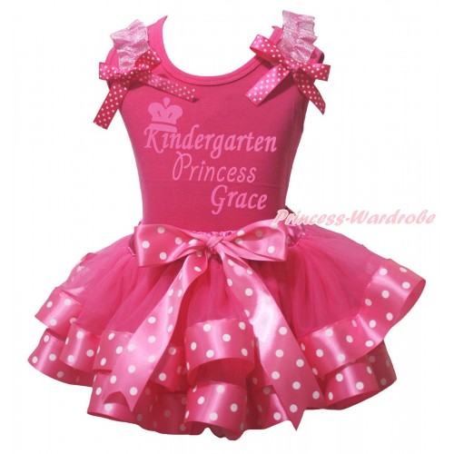 Hot Pink Pettitop Light Pink Ruffles Hot Pink White Dots Bow & Kindergarten Princess Grace Painting & Hot Pink White Dots Trimmed Pettiskirt MG2328