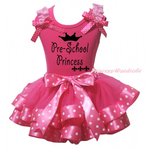 Hot Pink Baby Pettitop Light Pink Ruffles Hot Pink White Dots Bow & Pre-School Princess Painting & Hot Pink White Dots Trimmed Baby Pettiskirt NG2176