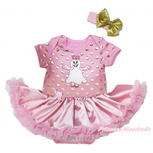 Halloween Light Pink Gold Dots Baby Bodysuit Light Pink Satin Pettiskirt & Princess Ghost Print JS5684