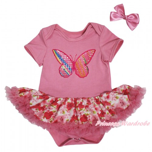 Dusty Pink Baby Bodysuit Light Hot Pink Flower Pettiskirt & Rainbow Butterfly Print JS5695