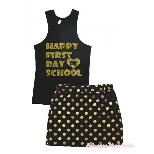 Black Tank Top Happy First Day Of School Painting & Black Gold Dots Girls Skirt Set MG2387