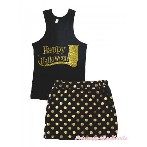 Halloween Black Tank Top Happy Halloween Painting & Black Gold Dots Girls Skirt Set MG2391