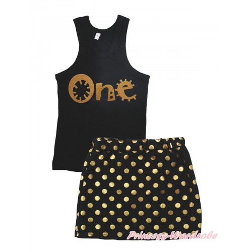 Black Tank Top One Painting & Black Gold Dots Girls Skirt Set MG2392